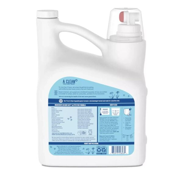 Seventh Generation Natural Laundry Detergent – Free and Clear – 150 fl oz Back