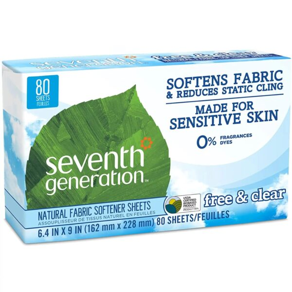 Seventh Generation Natural Fabric Softener Dryer Sheets – Free and Clear – 80 Count