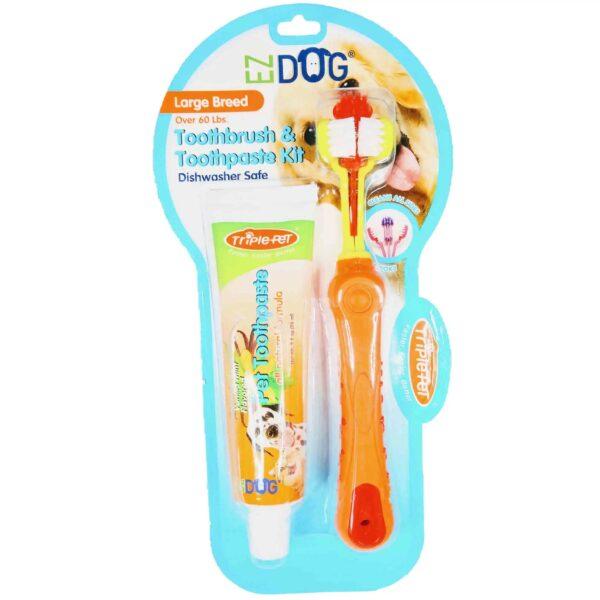 EZdog 1140 Toothbrush Toothpaste Kit Vanilla Mint Large Breed