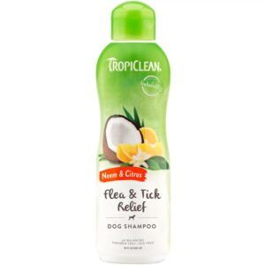 TropiClean Tick & Flea Shampoo - Neem & Citrus - For Dogs - 20 oz