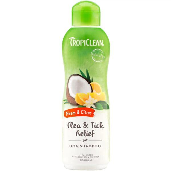 TropiClean Tick & Flea Shampoo - Neem & Citrus - For Dogs - 20 oz