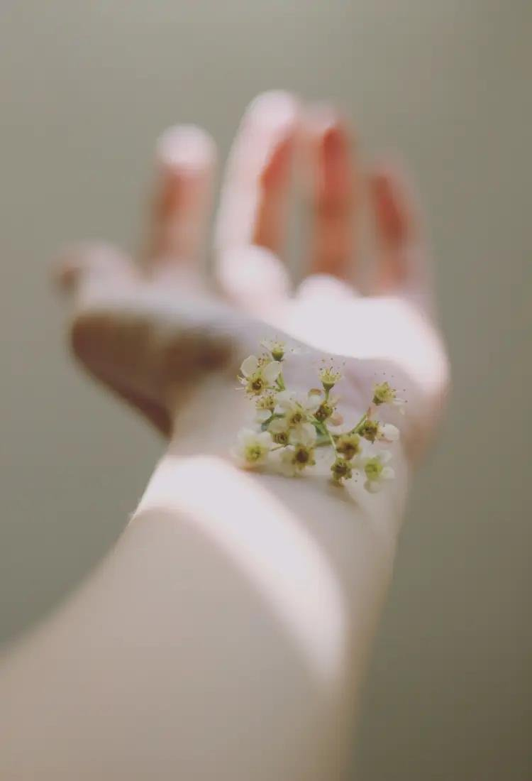 Plant flower on arm