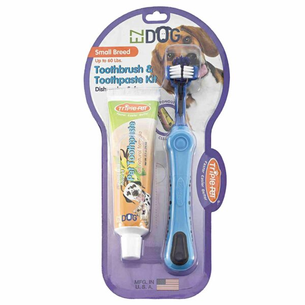 ezdog 1139 toothbrush vanilla toothpaste kit small breeds