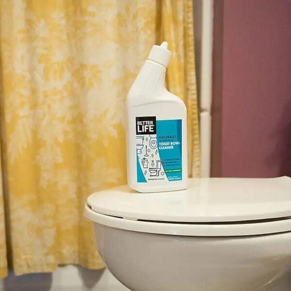 Cleaner bottle on toilet bowl