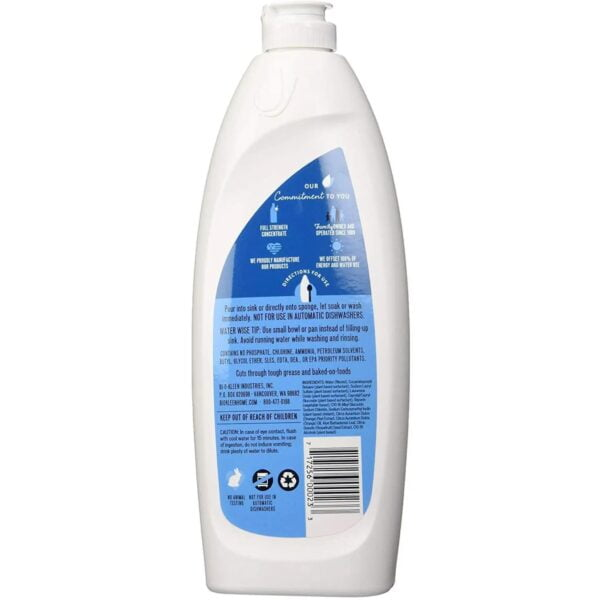 Biokleen Dish Liquid - Natural - Citrus Essence - Hand Moisturizing - 25 oz - Back